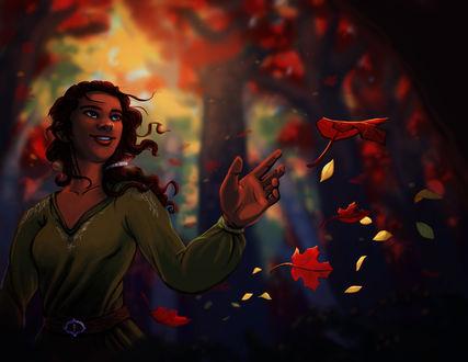 Обои Девушка в зеленом платье тянет руки к падающим осенним листьям, by Deisi