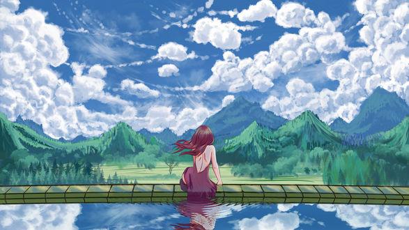 Обои Рыжеволосая девушка сидящая у воды смотрит в даль, by Hibelton