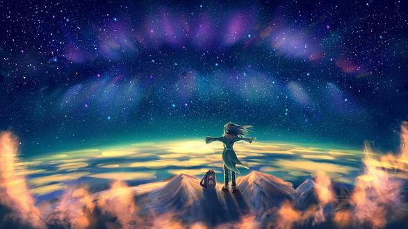 Обои Ребенок стоя на горе смотрит на северное сияние на небе, by Hibelton