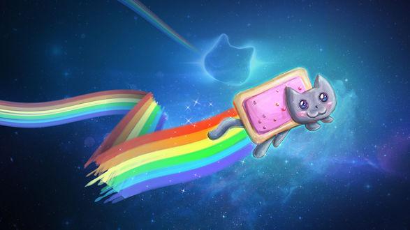 Обои Nyan Cat / Нянкот- визуально-музыкальный мем Ютуба, на фоне космоса, by Zaithy