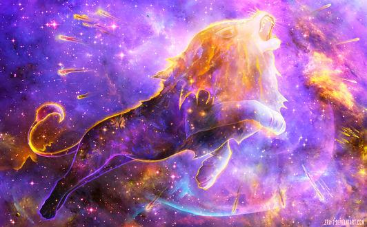 Обои Призрачный лев в космосе, by ERA-7