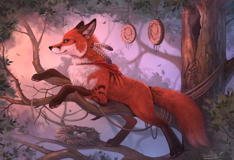 Обои Лис лежит на ветке дерева с окруженными талисманами и гнездом птичьих яиц, by Yakovlev-vad