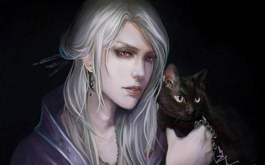 Обои Парень- блондин - эльф с черным котиком на руках