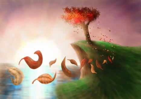 Обои Осенним ветром уносится листья стоящего на холме одинокого дерева возле моря на фоне неба, by TheGentlemanCupcake