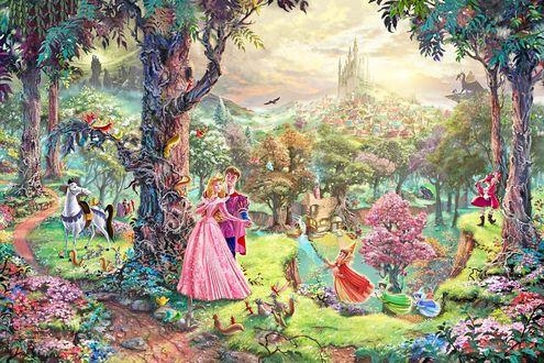 Обои Спящая красавица / Sleeping Beauty с принцем в лесу среди зверей, рядом крестная волшебница, вдалеке сказочное королевство, художник Томас Кинкейд / Thomas Kinkade