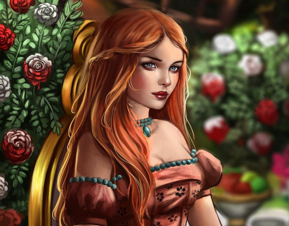Обои для рабочего стола Девушка с длинными волосами у куста цветов, by Whails