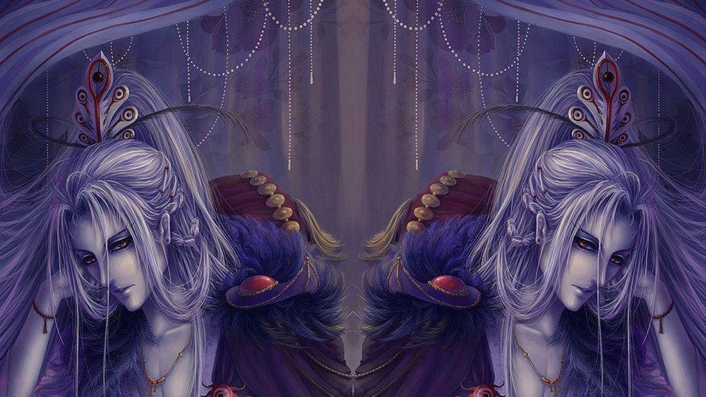 Обои для рабочего стола Грустный Парень блондин в кресле отражается в зеркале