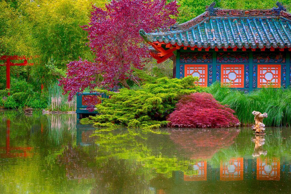Обои для рабочего стола Традиционный японский домик у пруда в осеннем саду, вдали красные ворота тории Japan / Япония