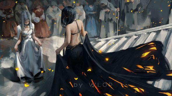 Обои Светловолосая эльфийка приветствует темноволосую, спускающуюся по лестнице, из игры Ghostblade, art by Wlop