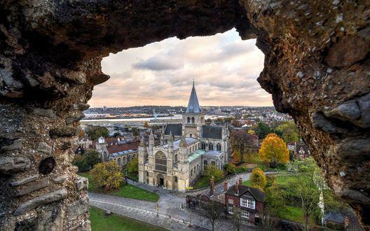 Обои Католический собор в городе Rochester / Рочестер, Great Britain / Великобритания