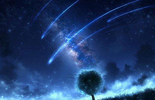 Обои Одинокое дерево на фоне звездного неба, млечного пути и падающих звезд, by CZY