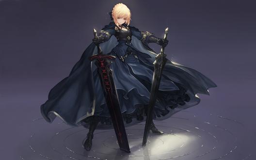 Обои Сейбер Альтер / Saber Alter / Dark Saber из визуальной новеллы Fate / stay night, стоит в воде с двумя мечами