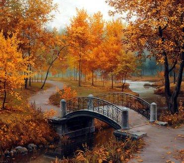 Обои Мост через речку и дорожка в осеннем парке