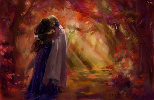 Обои Парень обнимает девушку в платье на фоне осеннего леса, by Foleriel