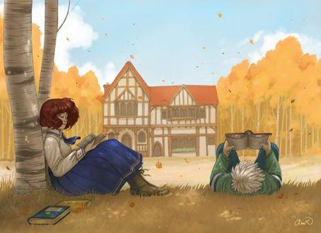 Обои Девушка и парень читают книги на природе на фоне дома и деревьев, by anakareninart