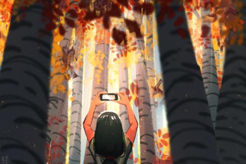 Обои Девушка фотографирует на телефон осенние деревья в листве, by kyraichu