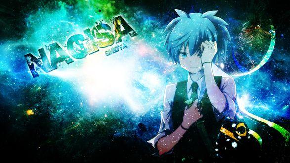 Обои персонаж нагиса шиота / nagisa shiota из аниме класс убийц / anatsuu korosumatsu держится рукой за пораненный глаз с ножом в руках с именной надписью : nagisa