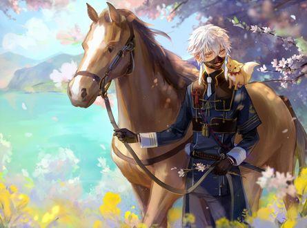 Обои Nakigitsune в маске с лисенком на плече держит за повод свою лошадь на фоне весеннего пейзажа из игры Touken Ranbu / Танец мечей