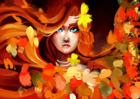 Обои Рыжеволосая и голубоглазая девушка в осенних листьях, by P-u-n