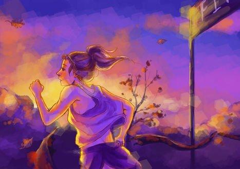 Обои Бегущая марафон девушка, by mangakaluvr