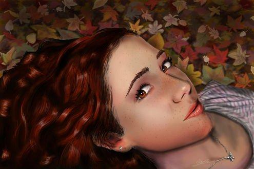 Обои Рыжеволосая девушка лежит на осенней опавшей листве, by oochma