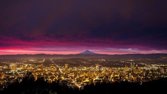 Обои Город Portland / Портленд вечером, штат Oregon / Орегон, USA / США