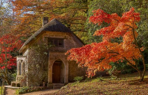 Обои Заросший диким виноградом дом среди осенних деревьев England, Stourhead Garden, Wiltshire / Англия Стурхед парк, Уилтшир, фотограф Anthony White
