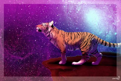 Обои Тигр на фоне космоса, by DarkMasterOfDragons