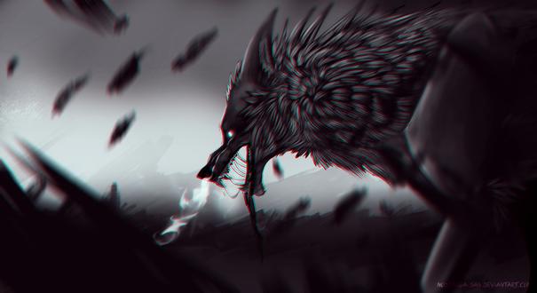 Обои Мистический волк на фоне разрушения, by STRAY-KAGE