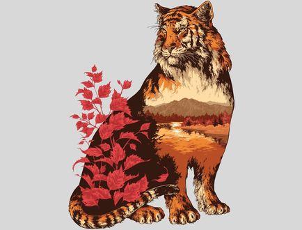 Обои Тигр с изображением на нем осенней природы, by Ivan Belikov