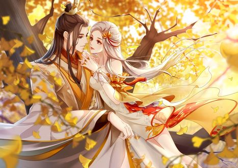 Обои Влюбленная пара в японской одежде на свидании в осеннем лесу