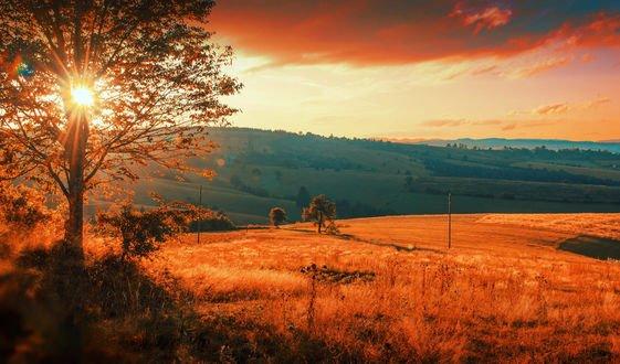 Обои Осенний закат солнца над холмами, Bosnia / Босния, фотограф Mevludin Sejmenovic