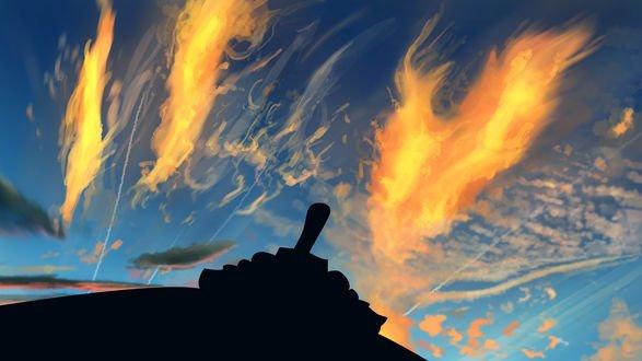 Обои Облака кажутся огненными от заката