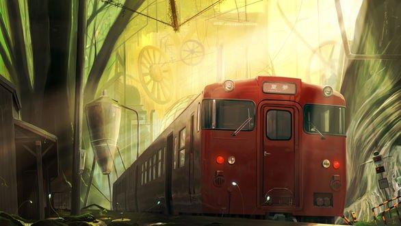 Обои Сказочный поезд прибыл на станцию в параллельной вселенной