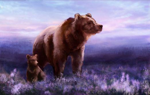 Обои Медведица с медвежонком на фоне цветов, by hi-shiro