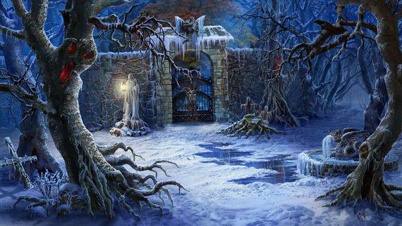 Обои Замерзшее фантастическое кладбище зимой. Скелеты и кресты