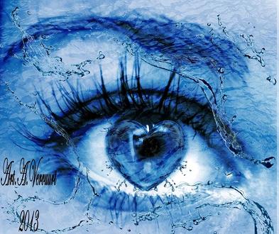 Обои Замерзший голубой глаз в виде сердечка Art A, Verumurt