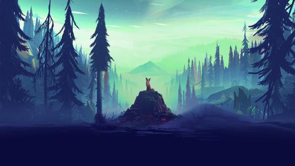 Обои Лиса сидит на камне на фоне звездного неба посреди соснового леса, by Mikael Gustafsson
