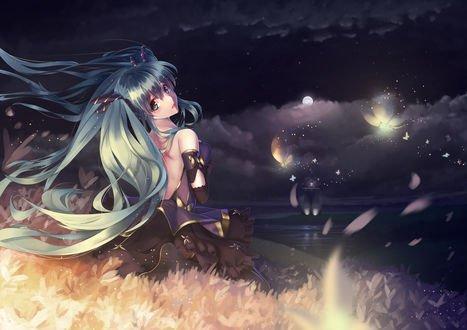 Обои Vocaloid Hatsune Miku / Вокалоид Хатсуне Мику сидит на берегу реки на фоне ночного неба, вокруг музыкальные инструменты, by Nishiro Ryoujin