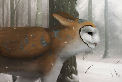 Обои Фэнтези существо похожее на сову на фоне снега и деревьев, by Octobertiger