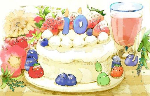 Обои Праздничный тортик, украшенный ягодами клубники, вокруг разноцветные птички и цветы