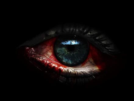 Обои Кровавый глаз с надписями и крестом в зрачке