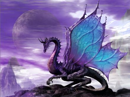 Обои Дракон с крыльями бабочки на горе под луной Art Anne Stokes