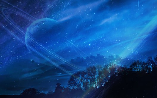 Обои Планета в ночном небе над деревьями