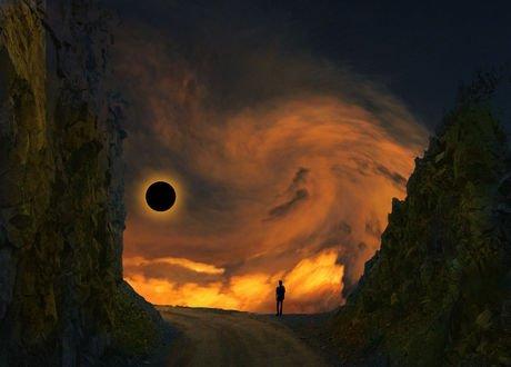 Обои Парень наблюдает за солнечным затмением, by peter holme iii