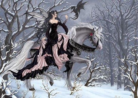 Обои Девушка темный эльф и дракончик на коне зимой в лесу