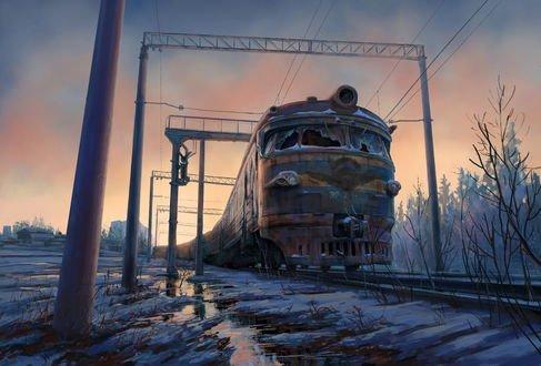 Обои Старый поезд замерз зимой на рельсах