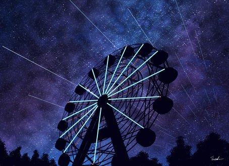 Обои Колесо обозрения на фоне ночного неба, by Tosaka
