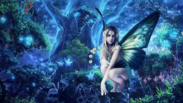 Обои Фея с цветком в волосах в волшебном лесу