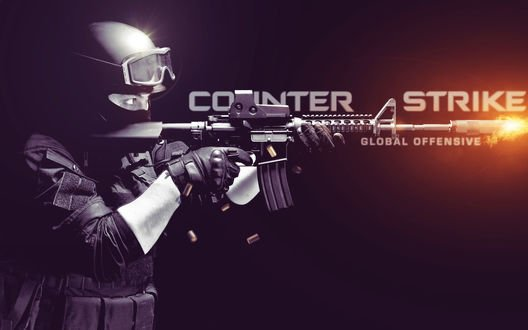 Обои Человек стреляет из оружия (COINTER STRIKE GLOBAL OFFENSIVE)